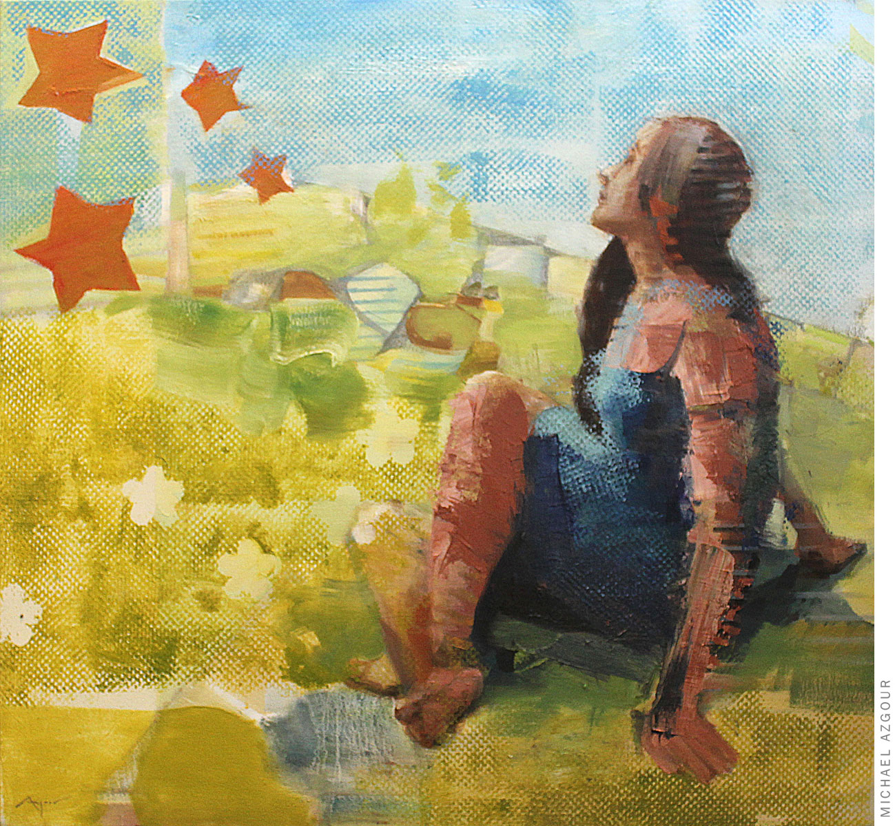 Woman in a Field with Stars
