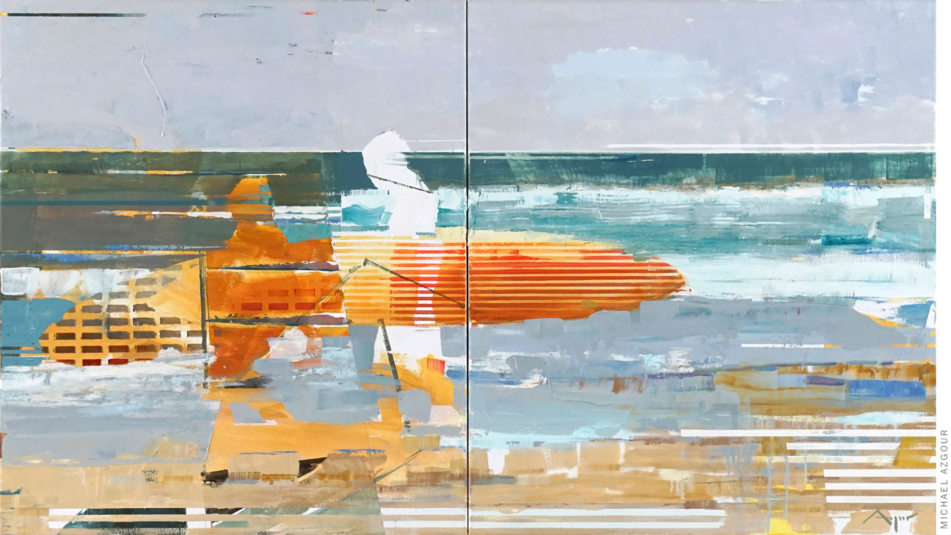 Two Surfers, 2018, Abstract figurative painting by artist, Michael Azgour depicting two abstracted surfers on the California coast