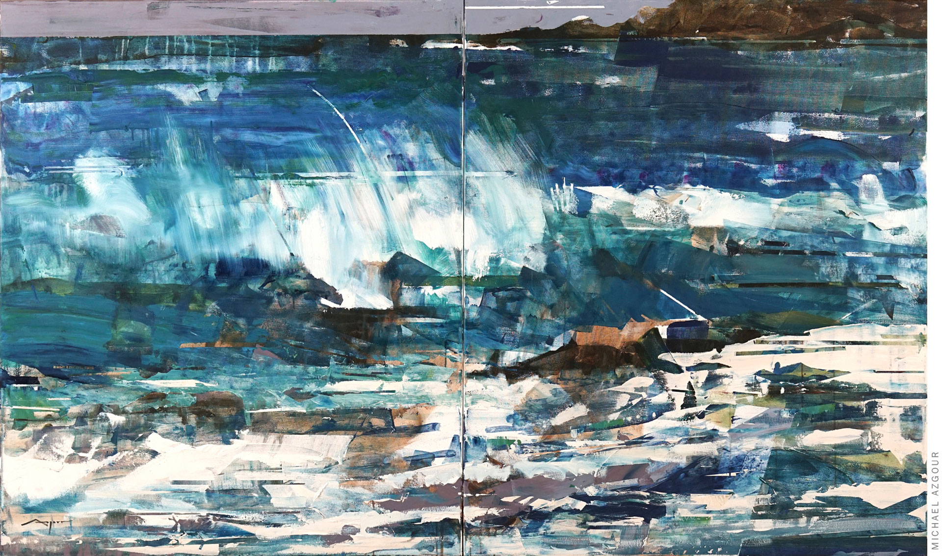 Wave, 2020, oil and acrylic on linen, Large-scale abstract representation of a wave breaking on the shore; Visually arresting painting by contemporary artist, Michael Azgour