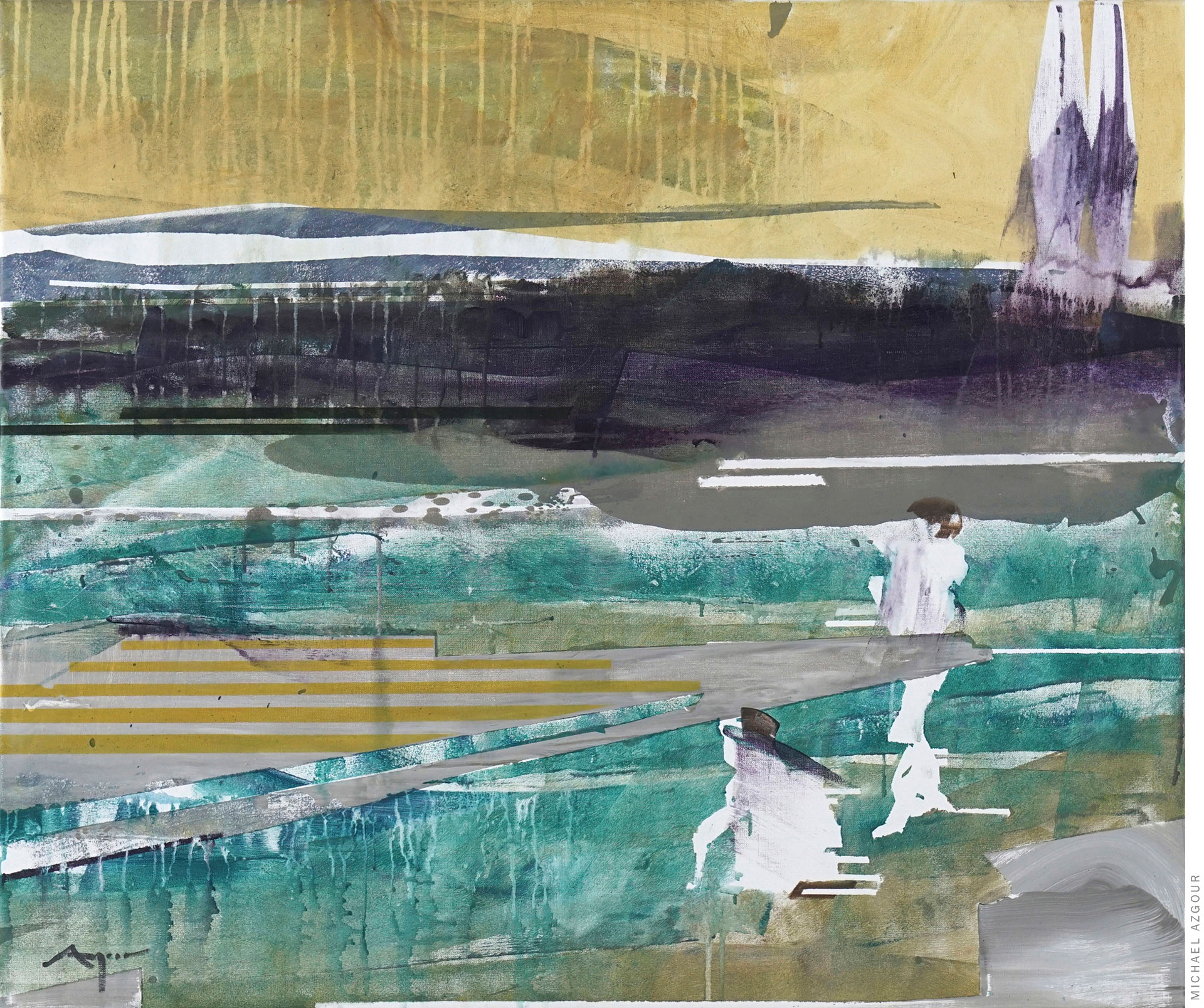 Abstract figurative painting by contemporary artist, Michael Azgour, titled Boys at the Lake, 2020, oil and acrylic on linen, depicting two boys on the lake shore painted abstractly