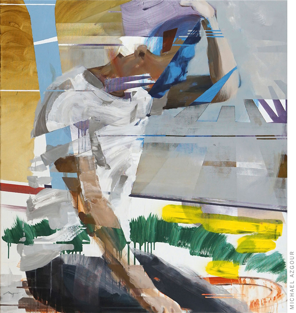 Expressive abstract painting of a man with his hand on his head. Wonderful colors and geometric abstract shapes; by Michael Azgour, Perception of I., 2020