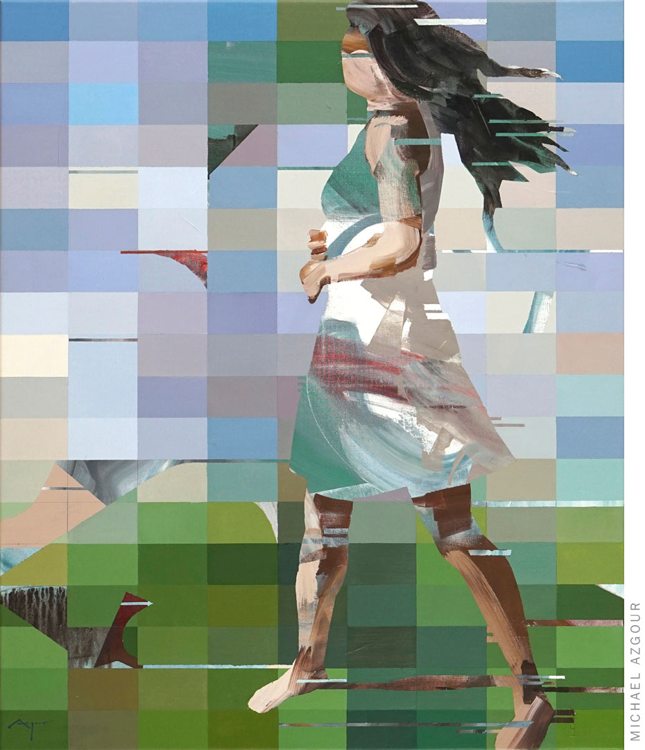 Snapshot: Jennifer Dancing, 2020, acrylic on linen, pixel painting of a person
