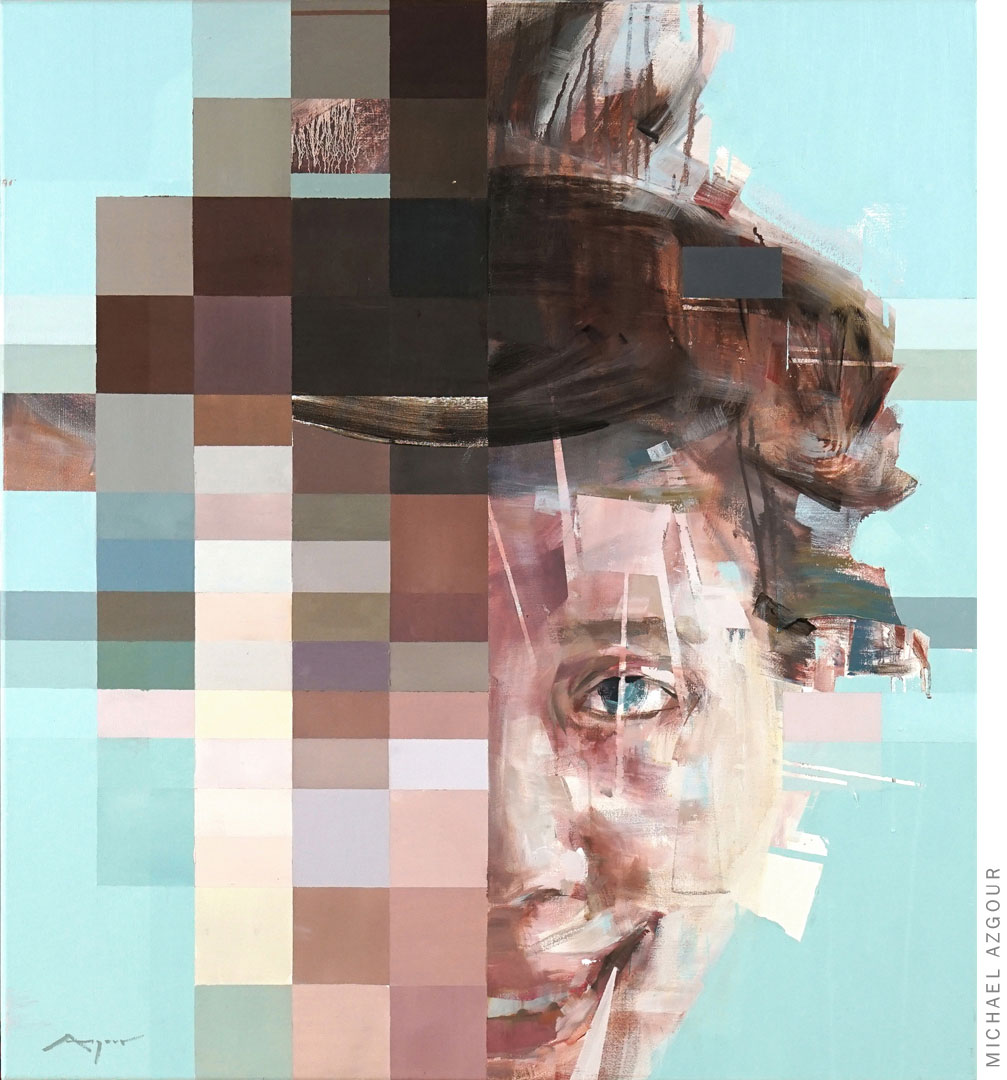 The painting, Gosia, depicting a frontal portrait, by Contemporary abstract figurative artist, Michael Azgour