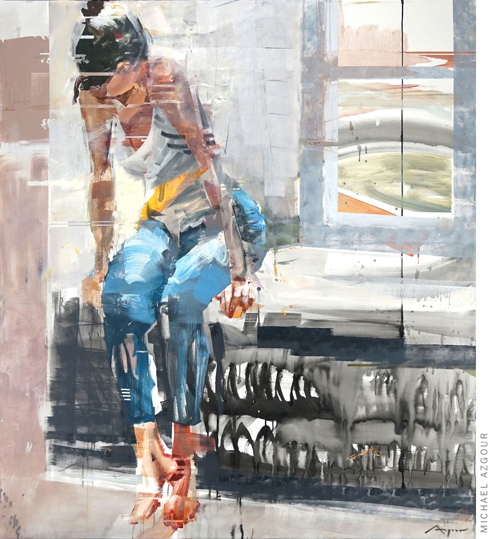The artwork, Memorabilia, painted in 2020 by Contemporary expressive artist, Michael Azgour, depicts a woman sitting on a window ledge looking down
