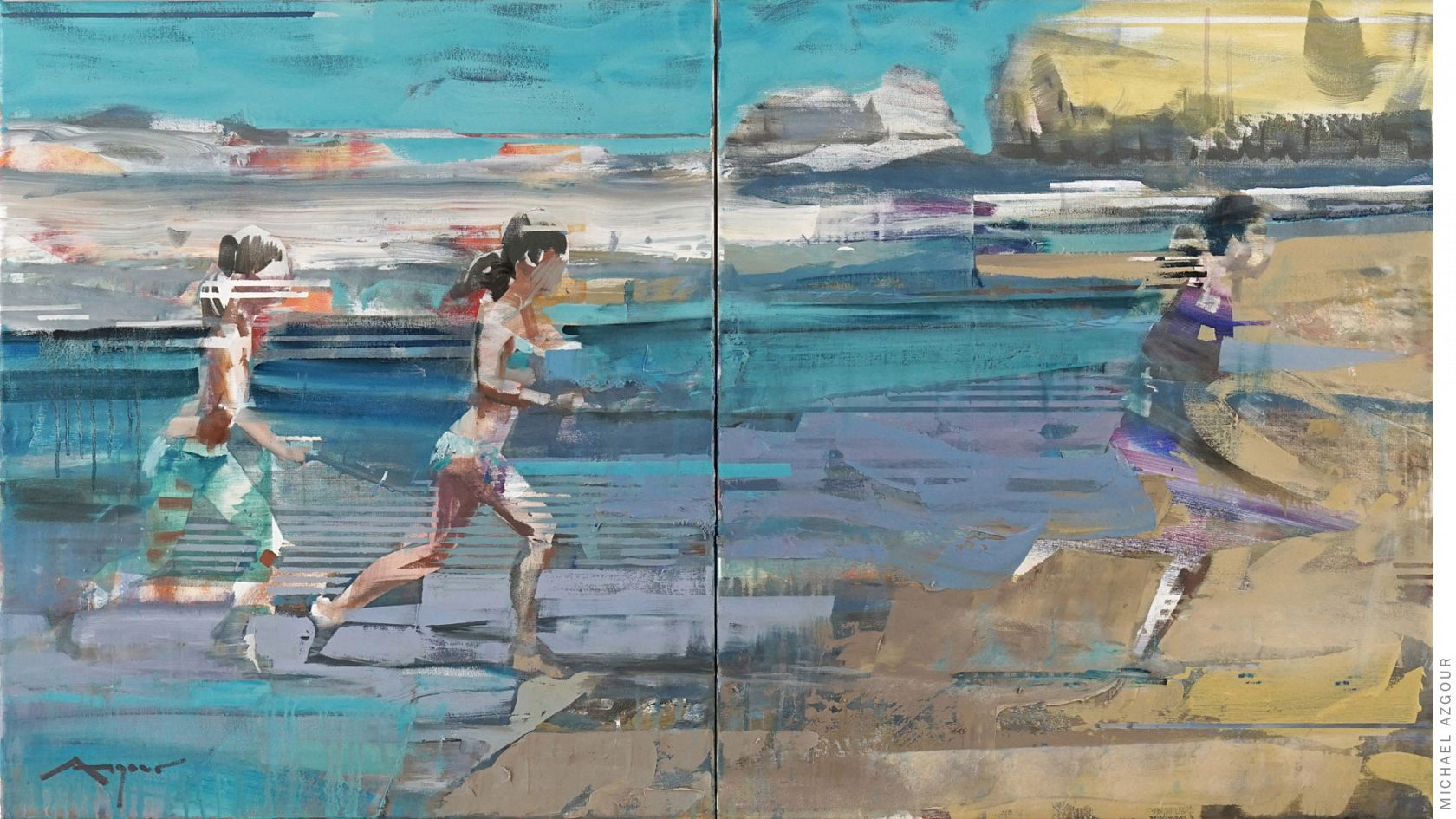 Painting titled On the Shore II, by contemporary abstract figurative artist, Michael Azgour, of a girl running on the beach