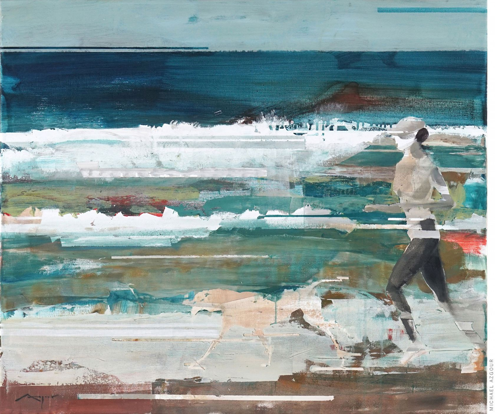 Runner and Dog painting by Michael Azgour