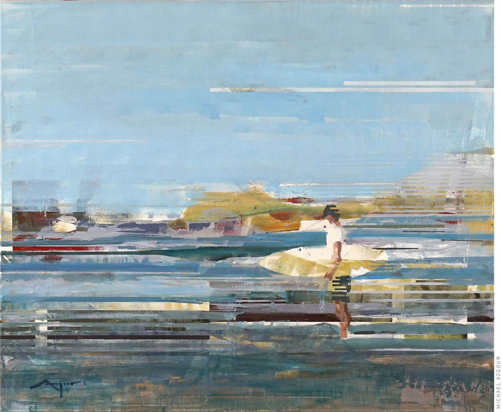Abstract figurative painting by contemporary artist, Azgour, titled Surfer on the Shore, depicting a surfer standing on the shore looking out at the surf