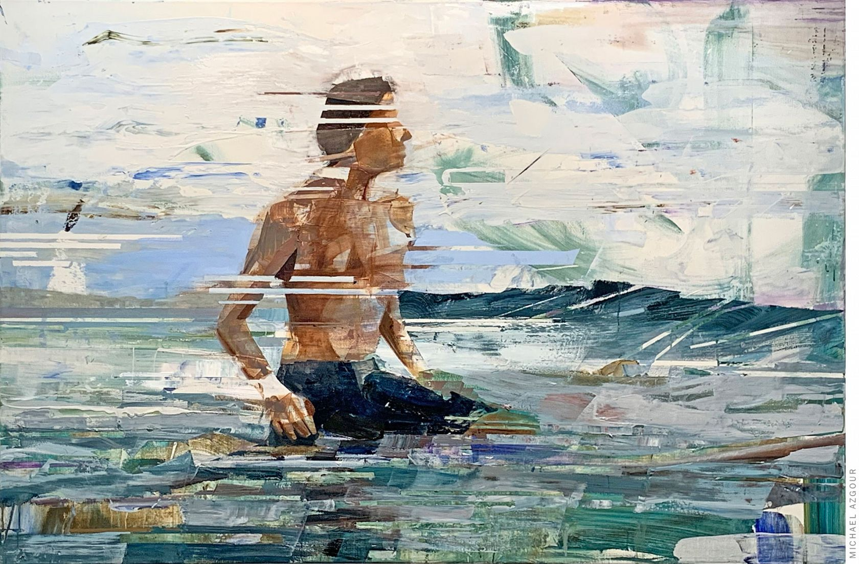 Painting of a surfer waiting for a wave, titled Waiting, by California based artist, Michael Azgour