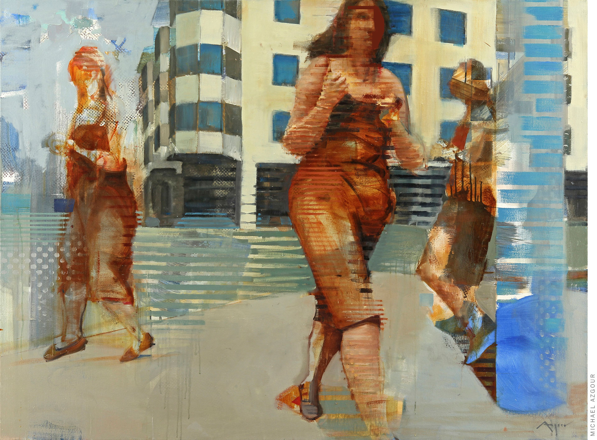 The painting depicts 3 female figures walking and posing in an urban setting. Artwork titled Movement Mission 2