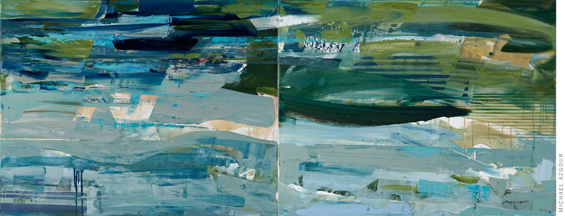 Painting titled Abstract Oceanscape, an expressive creation by California artist, Michael Azgour
