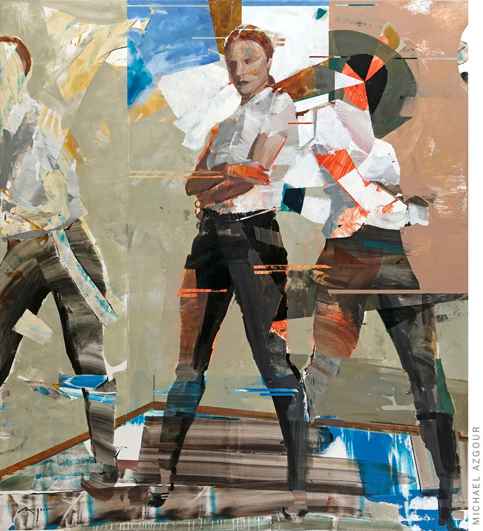 Original painting depicting female figures posing with strength, titled Algorithm