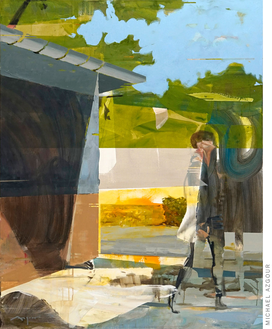 Painting depicting in an abstract sunny environment, an expressive figure walking away from a man-made structure. Artwork titled Autumn