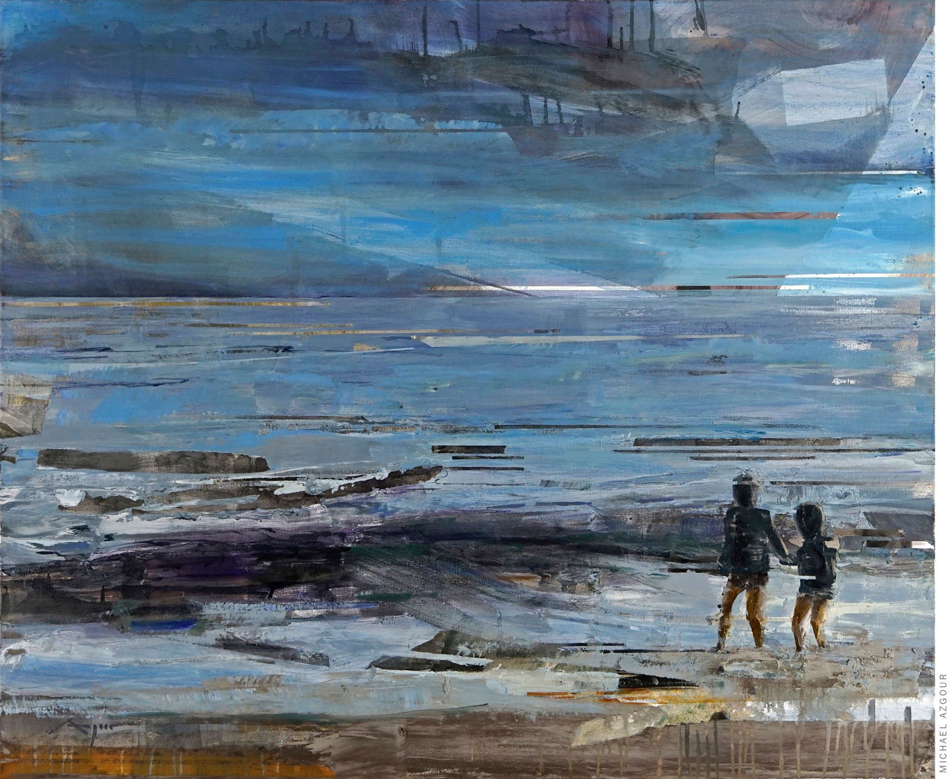Painting depicting seascape and two boys standing at the seaside. Artwork titled Boys on the Shore