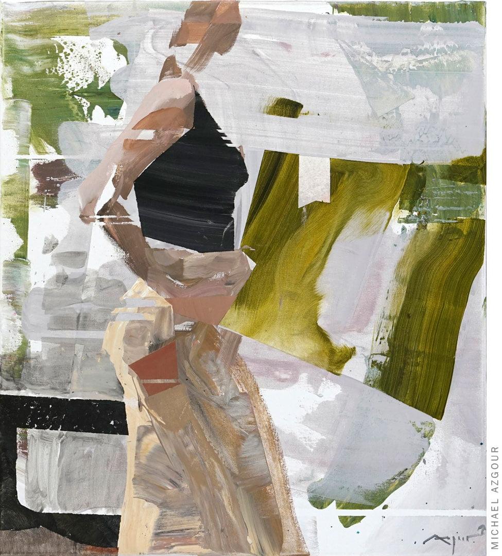 Original painting titled Girl on Rynek depicting abstract female figure posing.