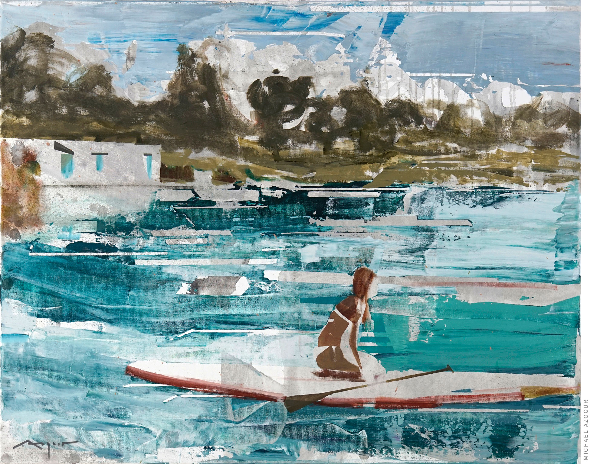 Painting depicting a female figure on a paddleboard in a seascape setting. Artwork titled Girl on a Paddleboard