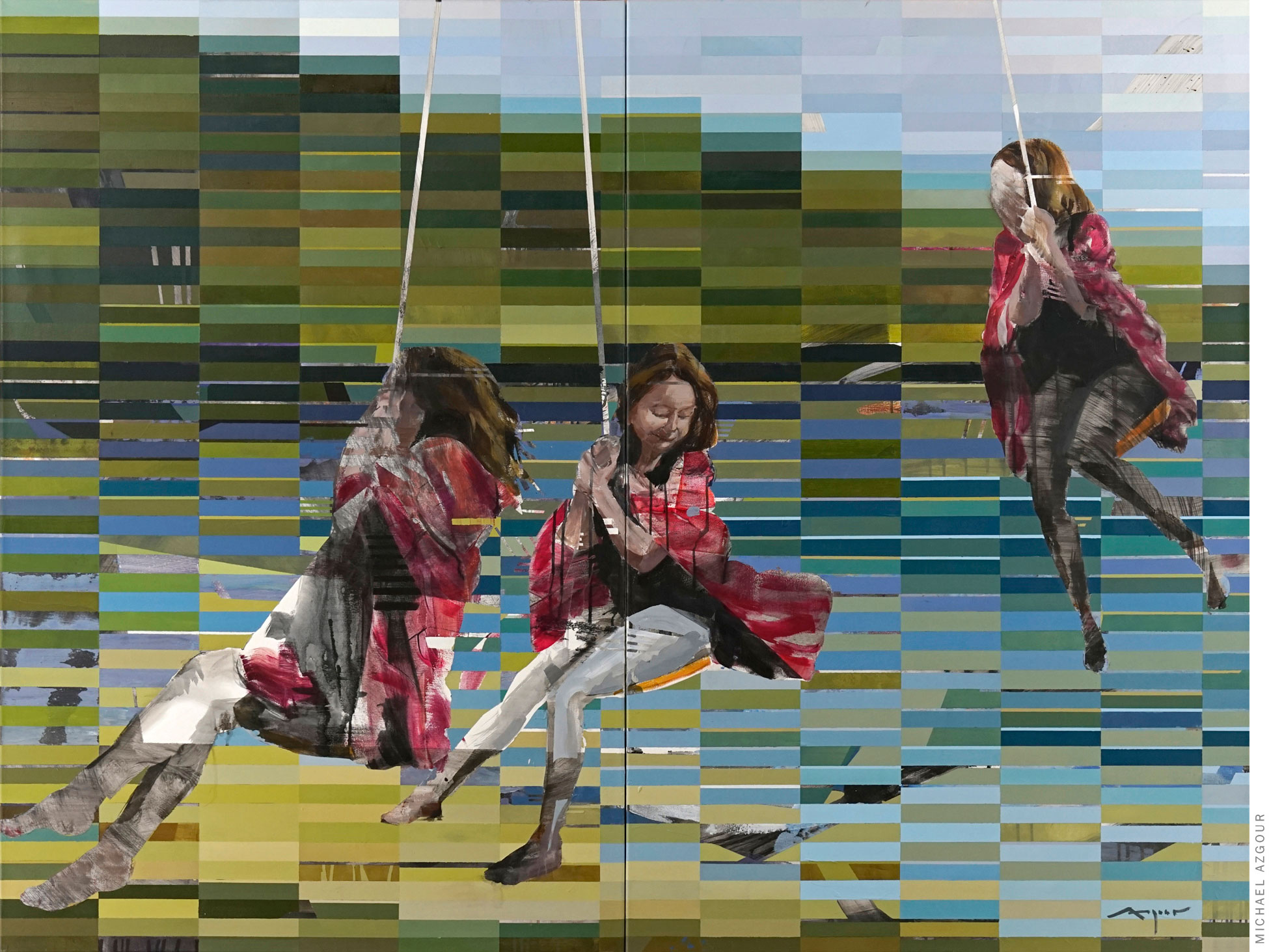 Painting depicting multiple figures during the action of swinging in a natural landscape setting. Artwork titled Girl on a Swing