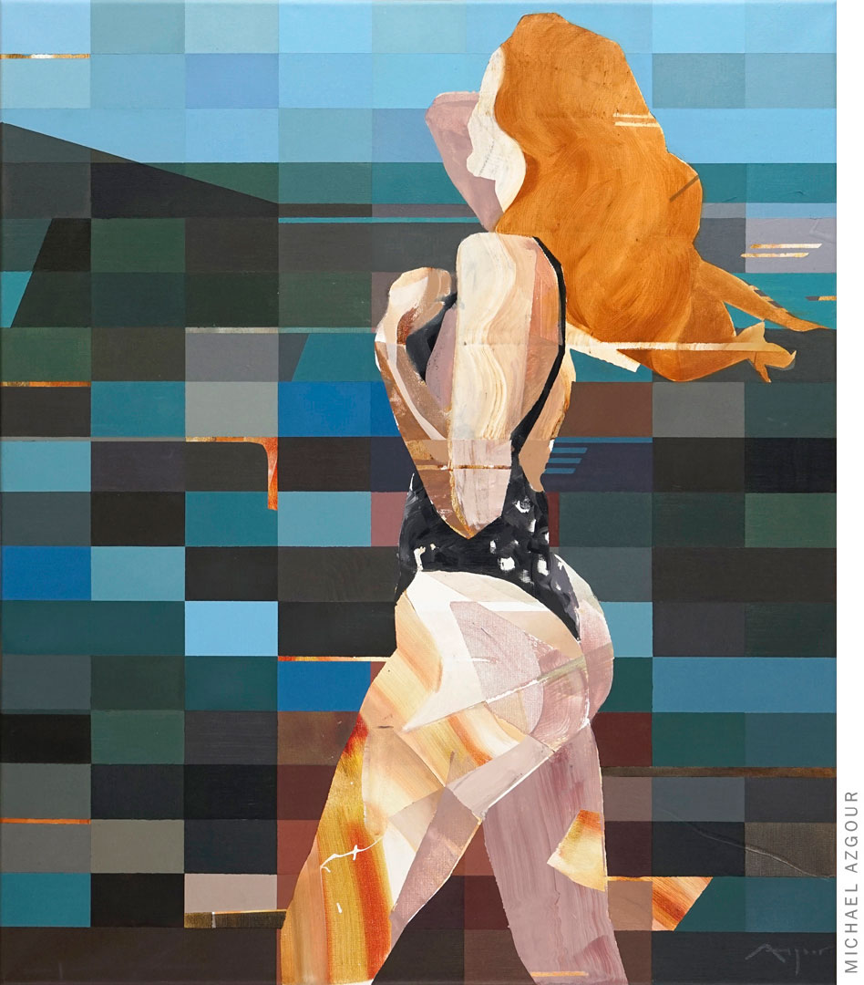 Painting titled #Influencer #Lake depicting a female figure posing.