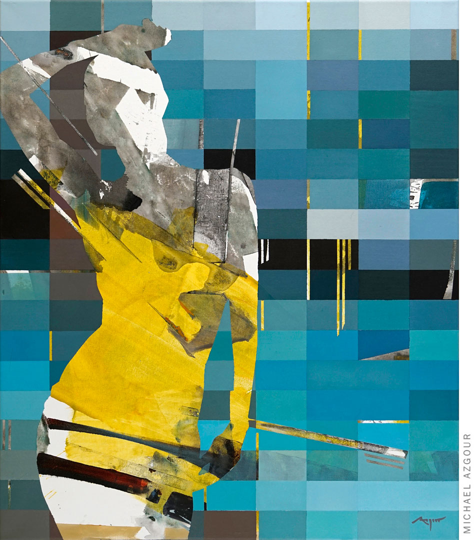 Painting titled #Influencer #Pool depicting an abstract female figure posing at a pool setting.