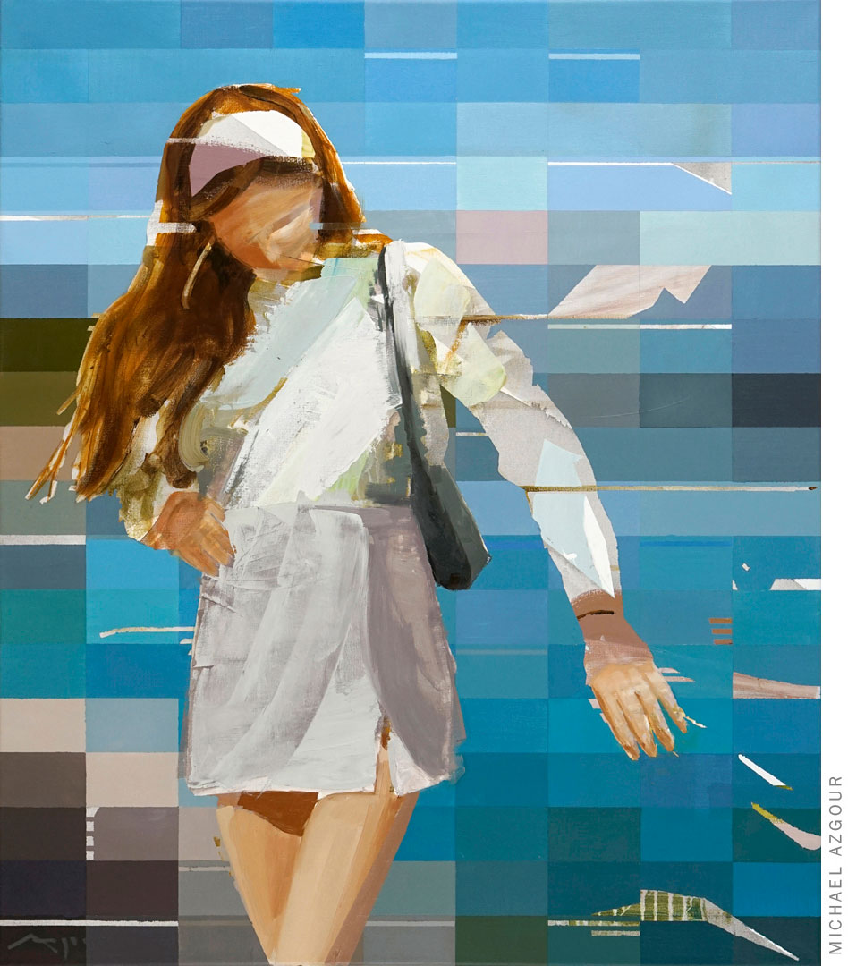 Painting titled #Influencer #lakecomo depicting a female figure posing.
