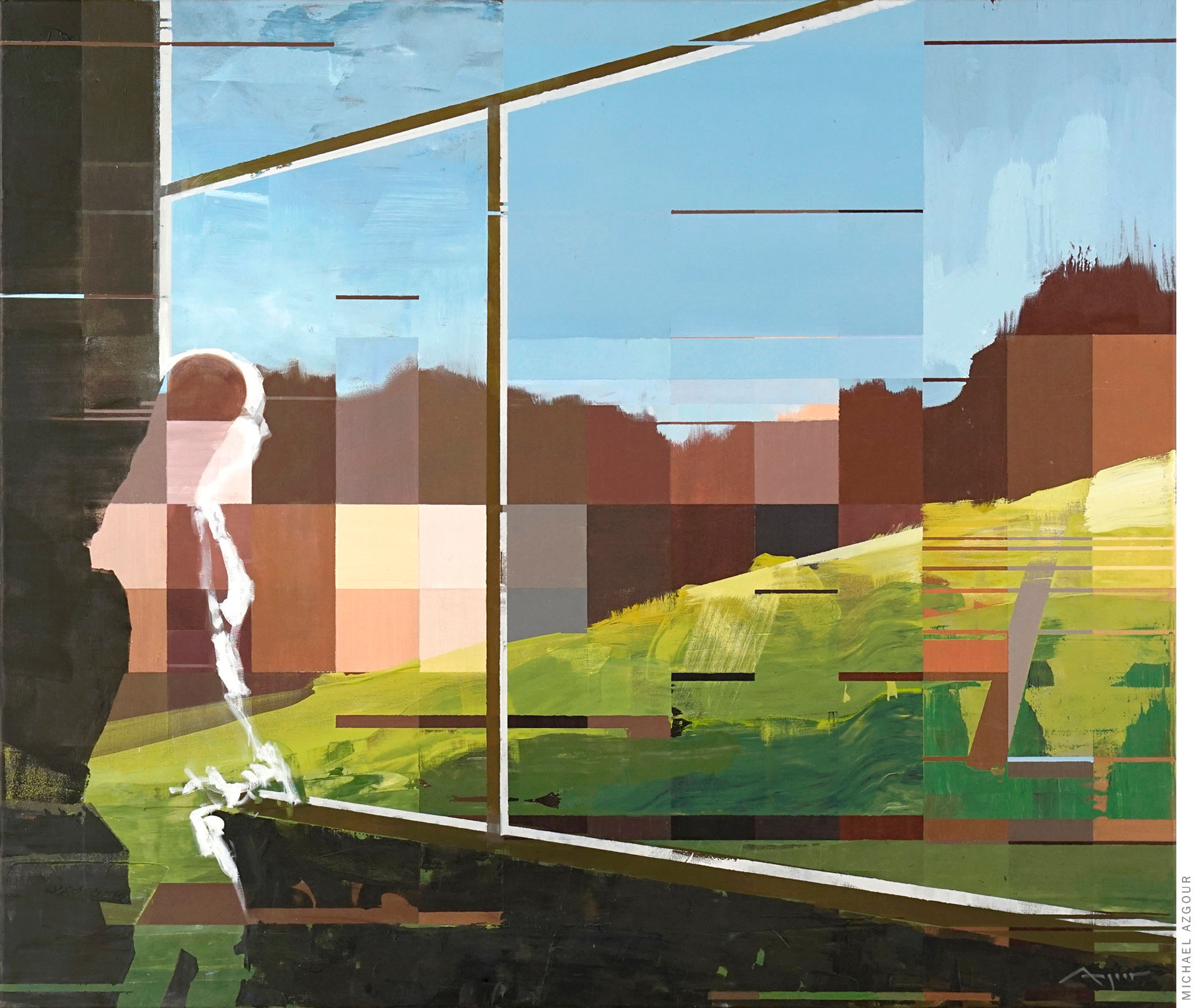 Painting titled Kreuzberg depicting a woman looking out of a window toward a digital reality