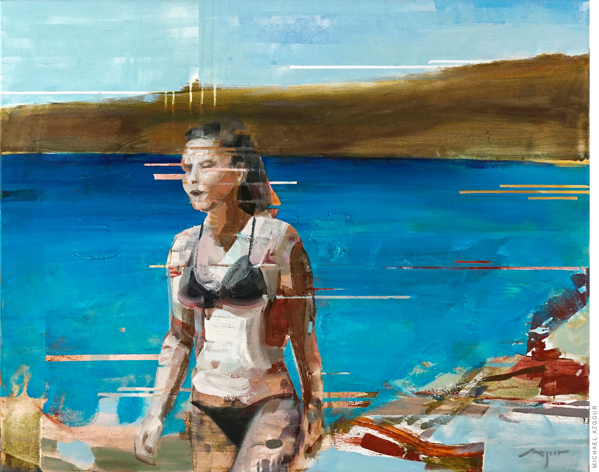 Painting titled Maria depicting a woman in a bikini walking at the beach.