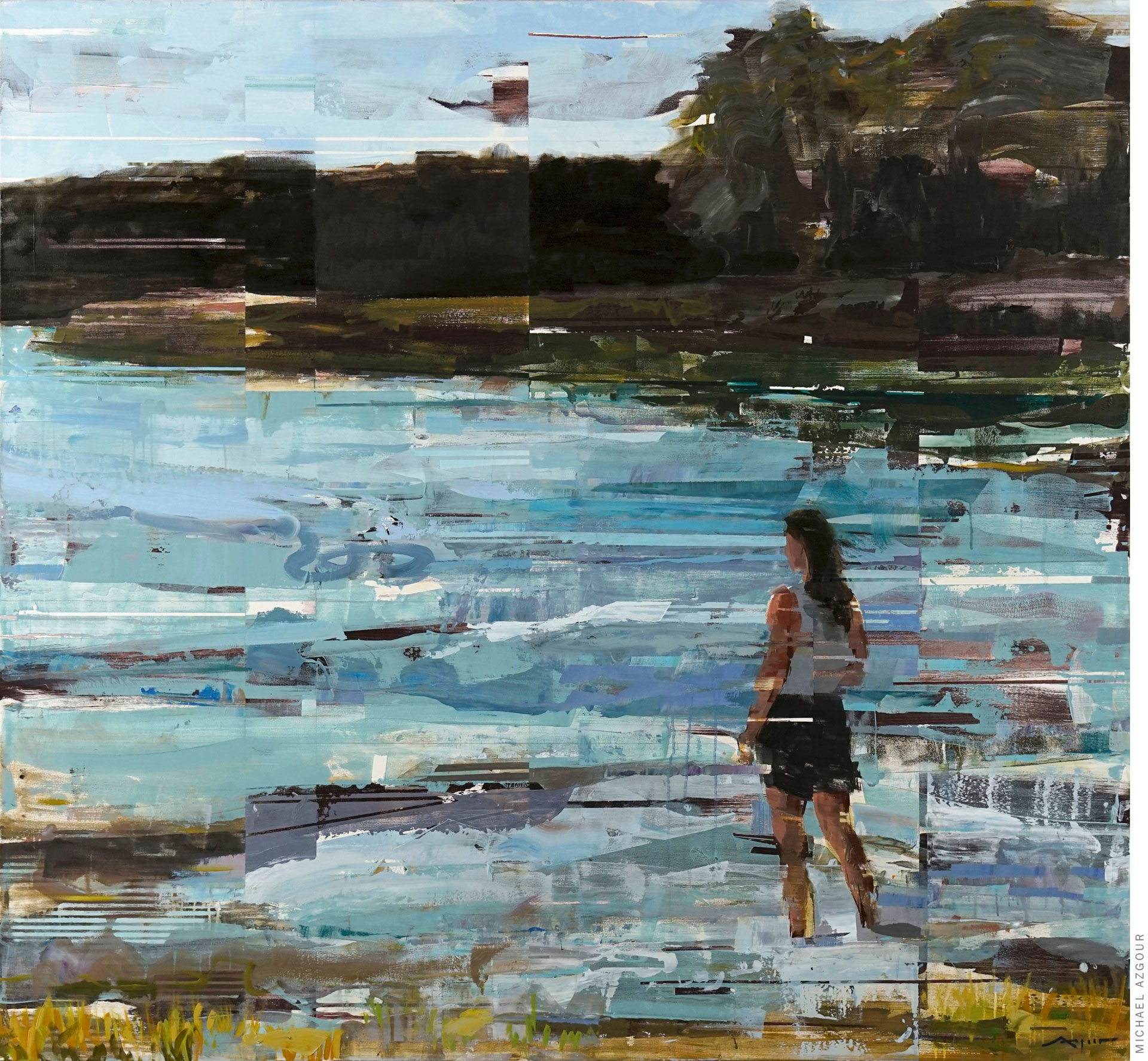 Painting depicting a woman standing and looking over the lake water in a natural landscape setting.