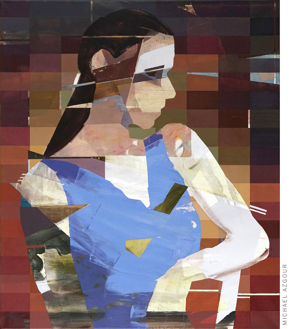 Painting titled Portrait of Hanna depicting an abstract geometric female figure in a blue dress posing, resting her arm on a chair.