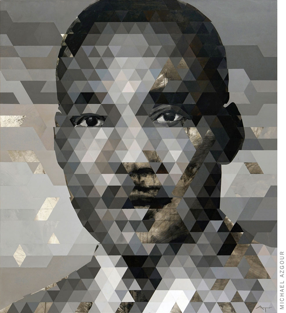 Painting titled Portrait of MLK depicting Martin Luther King Jr. as the center of the piece, a tribute to commemorate his legacy.