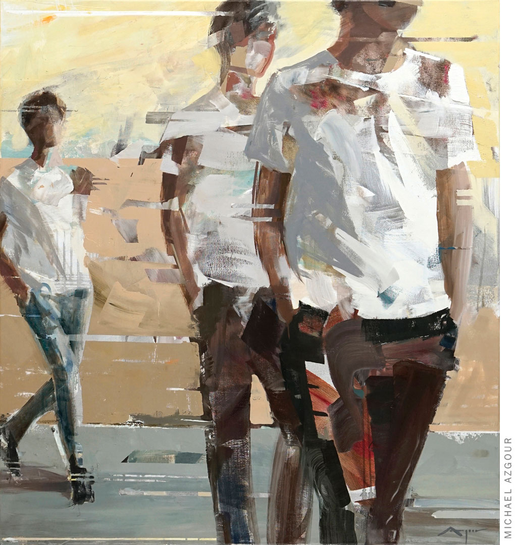 Original painting depicts multiple figures walking towards the viewer, the artwork addresses the concept of movement and time, titled Transition 1.