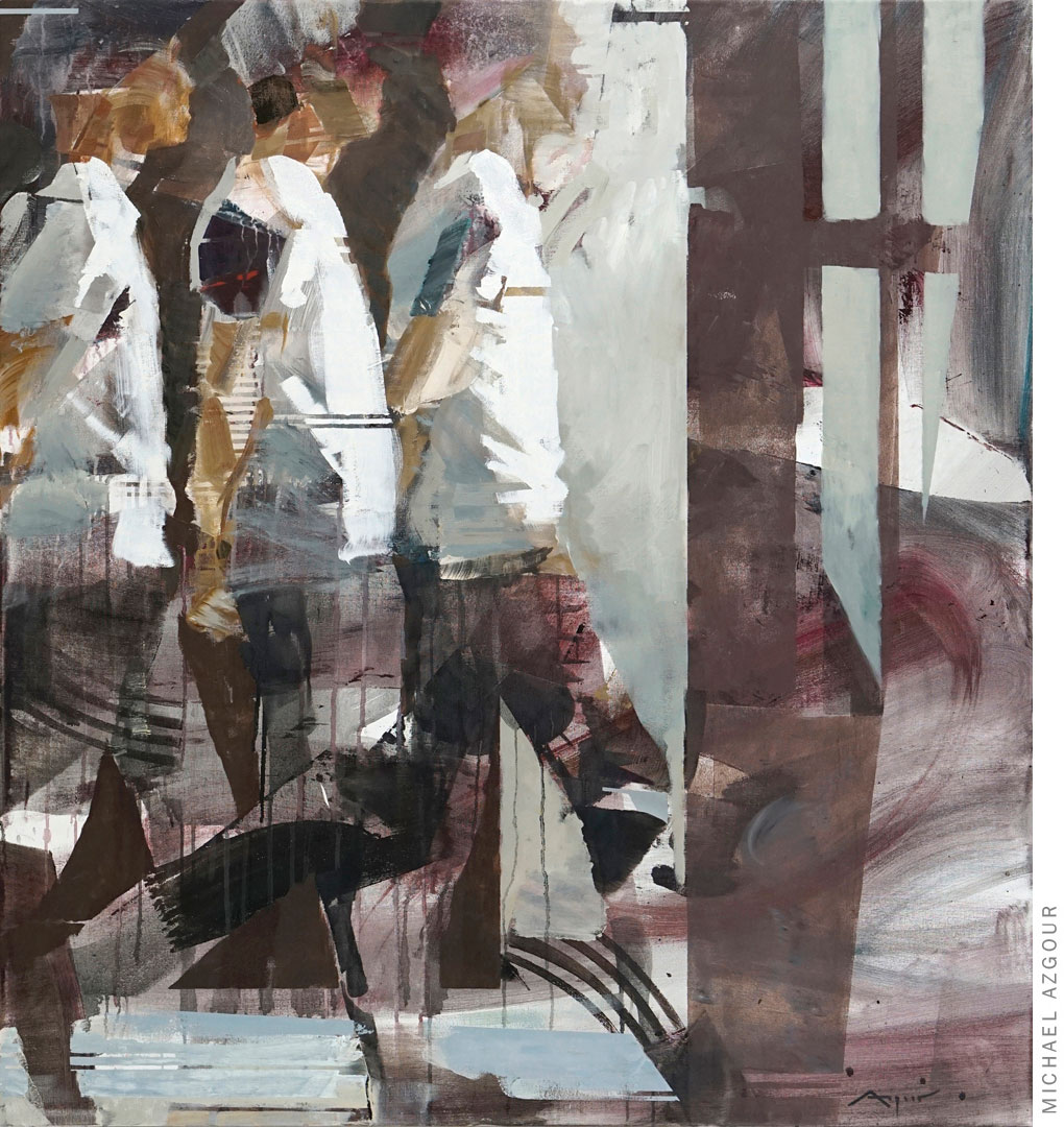 Painting depicts the same figure multiple times in a walking position, the artwork addresses the concept of movement and time in a given space., titled Transition 2