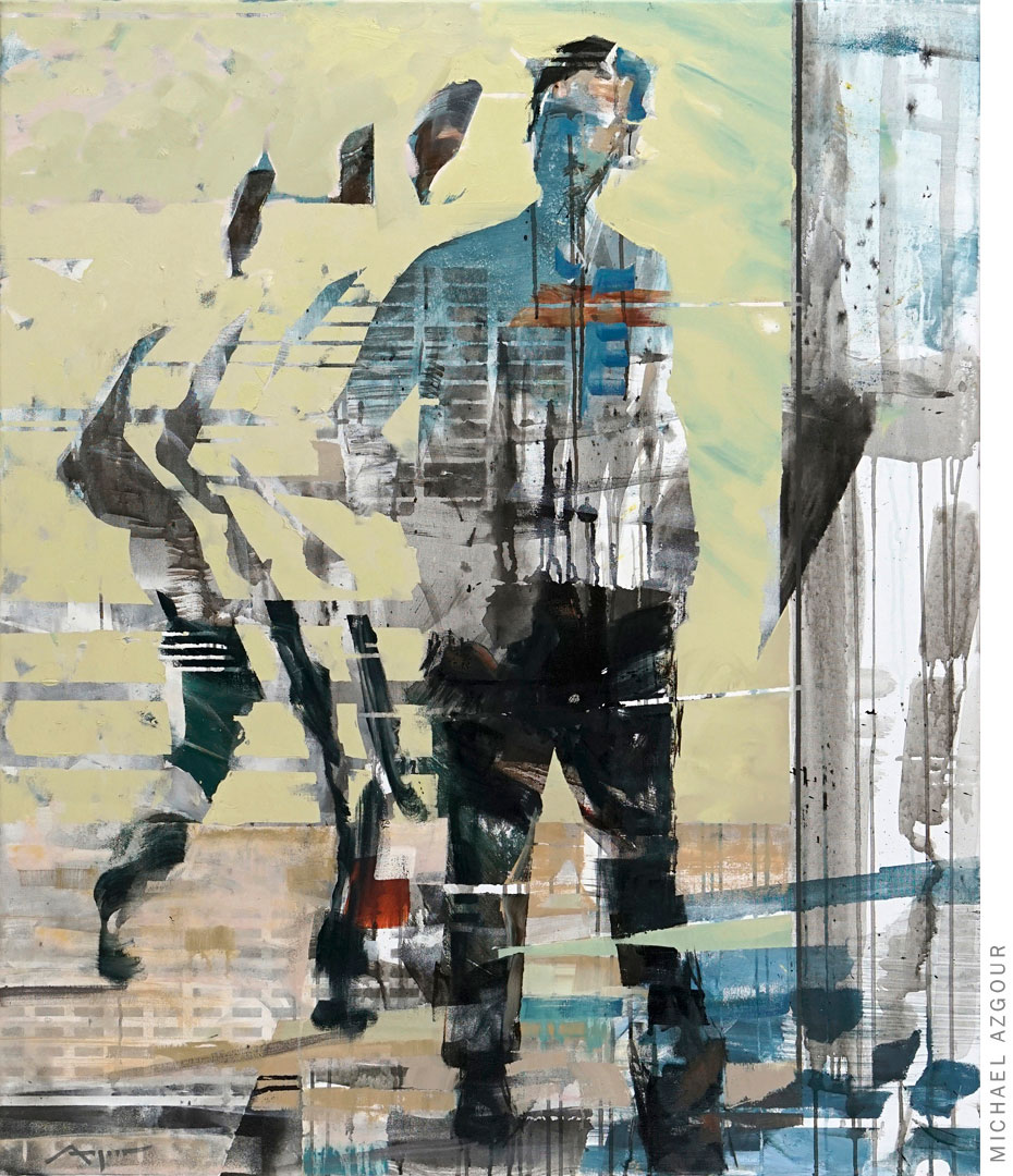 Painting depicting a male figure in a walking position, the artwork addresses the concept of movement and time in a given space., titled Transition 3.