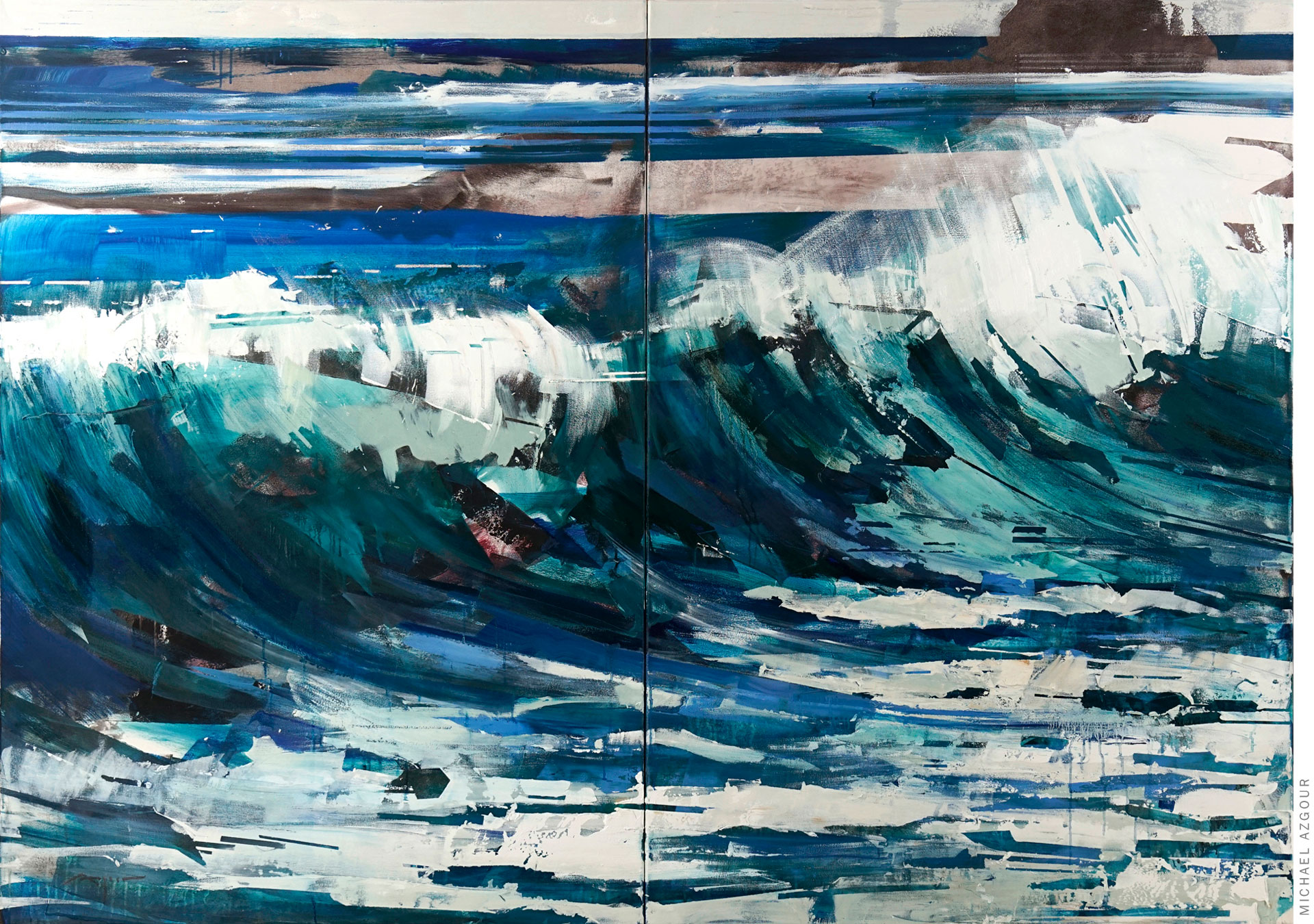 Expressive painting depicting a crashing wave on the ocean shore, titled Wave 2; by California artist Michael Azgour