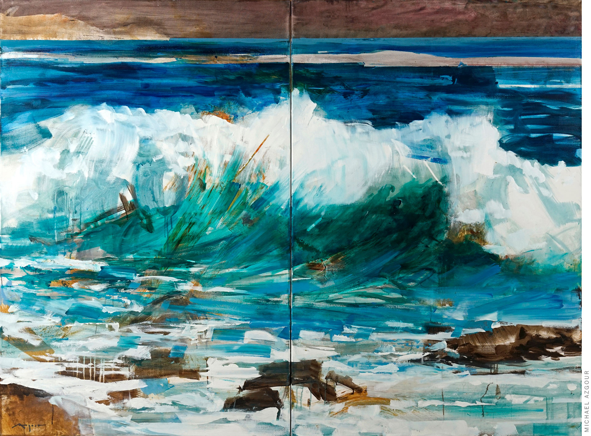 Painting by artist Michael Azgour, depicting a rough wave crashing on the ocean shore, a contrasting element to the calm horizon, titled Wave 3
