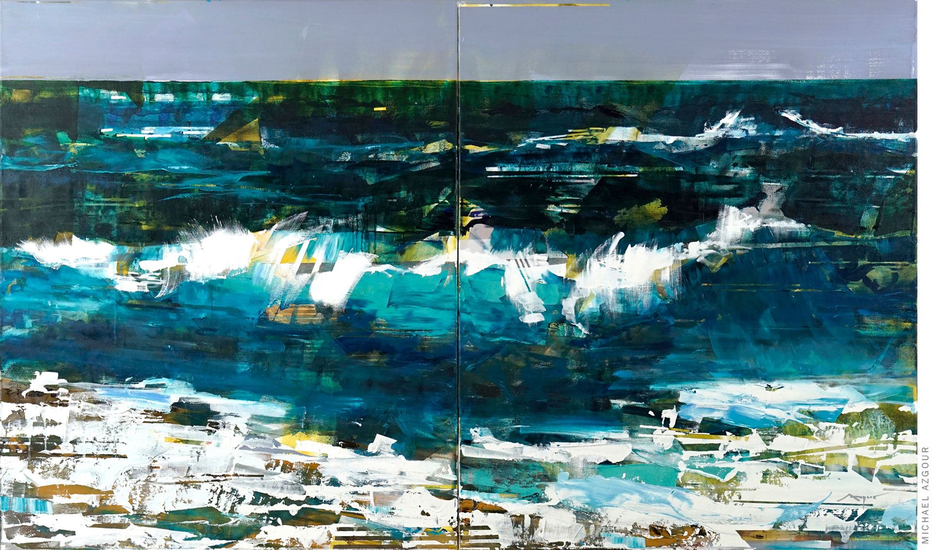 Ocean artwork depicting a wave crashing on the shore, a contemporary work by California artist Michael Azgour