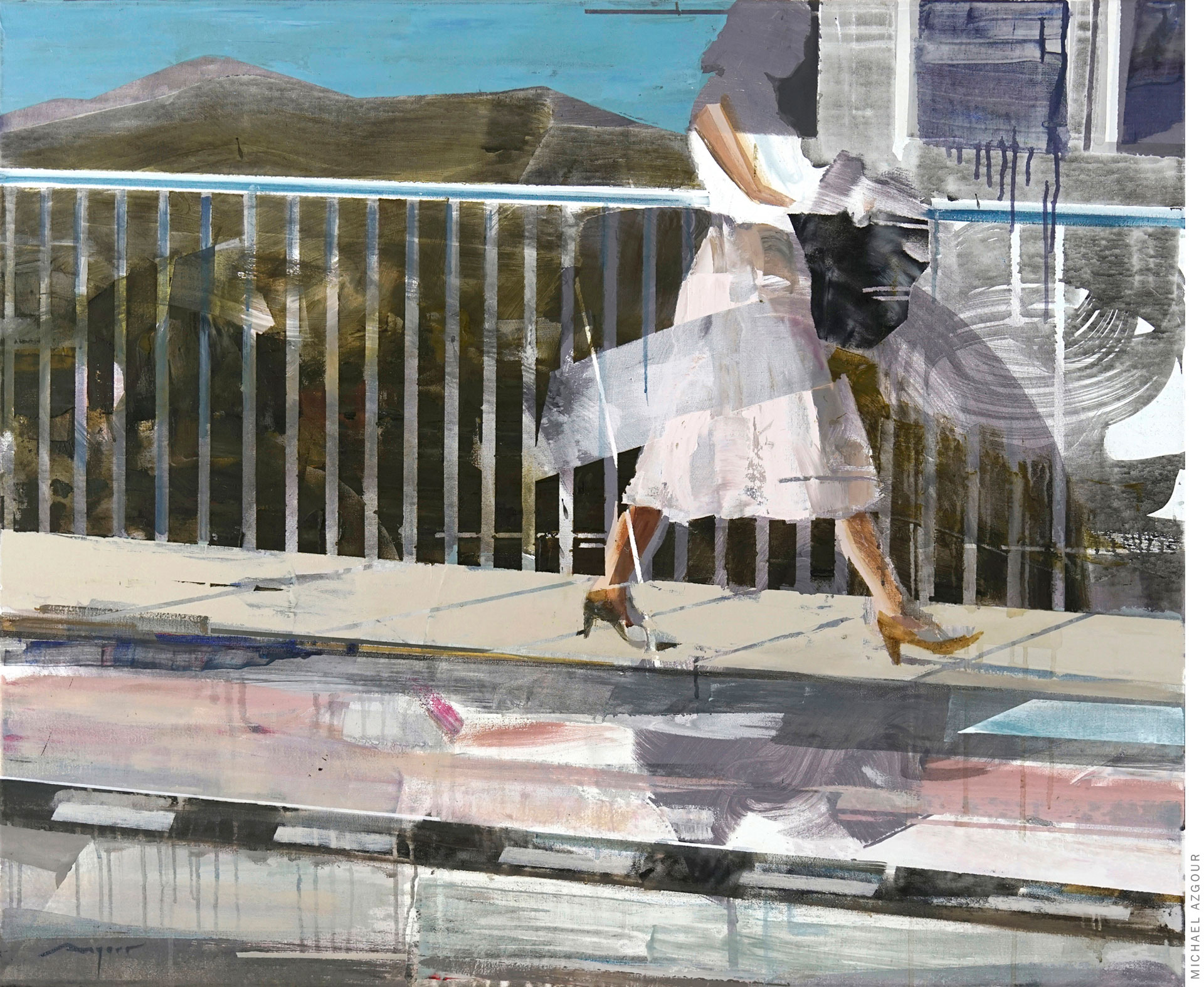 Painting titled Woman in a Pink Dress depicting a woman walking on a sidewalk next to a road.